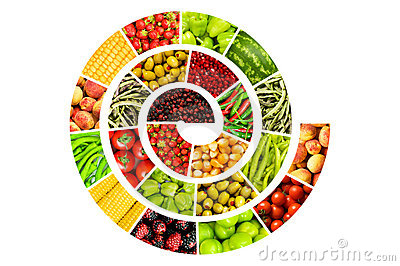 Spiral made of  fruits and vegetables