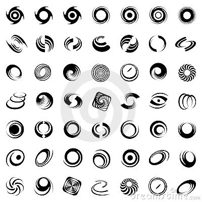 Spiral movement and rotation. 49 design elements.