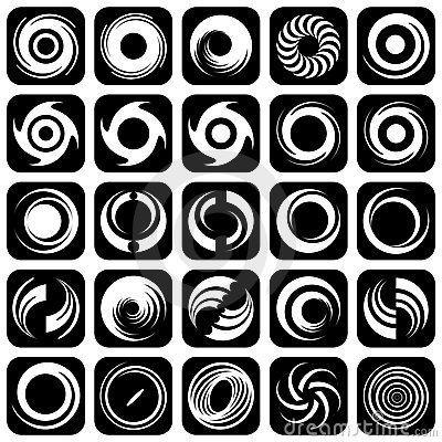 Spiral movement and rotation. Design elements.