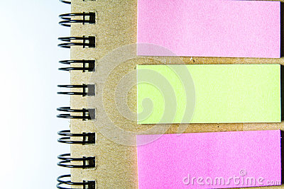 Spiral notebook and post-it