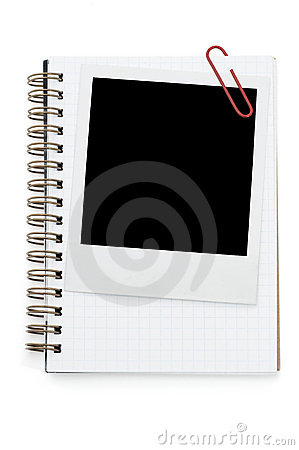 Spiral notepad and blank instant photo