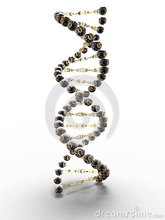 Free Spiral Of DNA With The Symbols Of The Dollar And Royalty Free Stock Images - 52526469