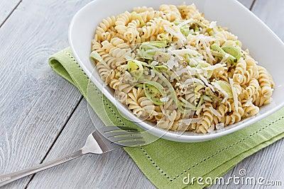 Spiral Pasta with Leek