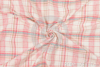 Spiral red tartan fabric