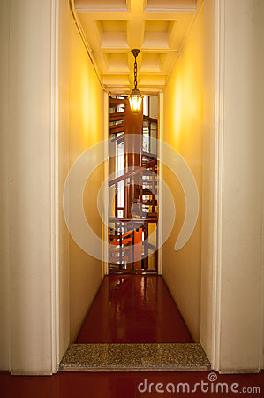 Spiral stair and classic lamp  in loha prasart at Wat Rachanutda Editorial Image