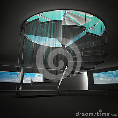 Spiral staircase with blue flare from down view