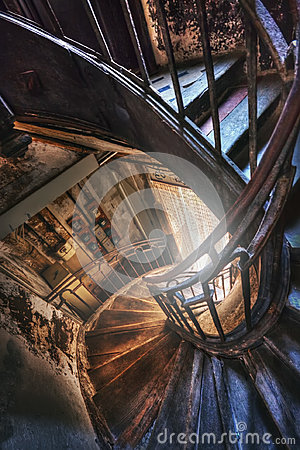 Free Spiral Staircase In The Old House Stock Photography - 98401872