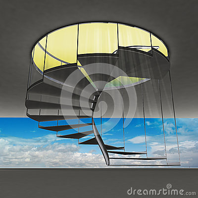 Spiral staircase with yellow flare and blue sky view