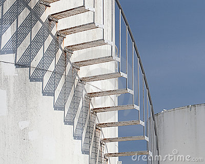Spiral Stairs At Fuel Tank Farm Royalty Free Stock Photos