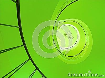 Spiral stairway in green