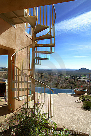 Free Spiral Stairway On Patio Stock Images - 1932404