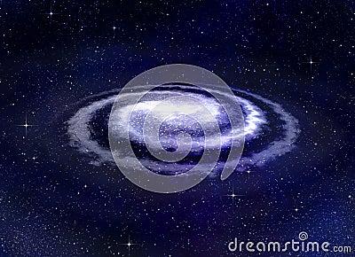Spiral vortex galaxy in space