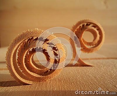 Spiral wood shavings
