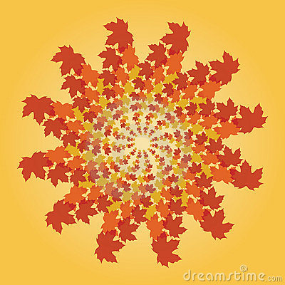 Spiralling fall leaves