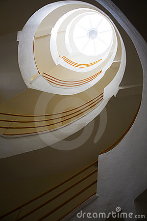 Spiralling stairs and skylight