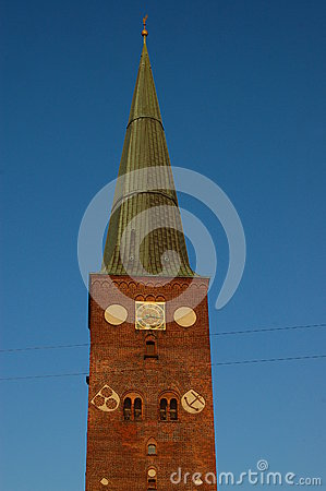 Free Spire On Tower Of Aarhus Cathedral Royalty Free Stock Image - 24924596