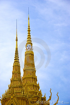 Spires of Cambodian Royal Palace Building