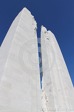 Spires of the Canadian Vimy Ridge Memorial, France, looking up at angle