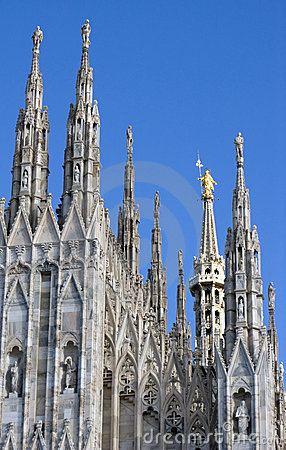 Spires of Duomo with statue