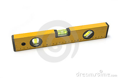 Spirit level on white background