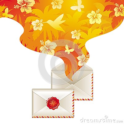Spirit of tropical travel from opened letter