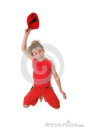 Free Spiritied Happy Boy Jumping Stock Photos - 3855763