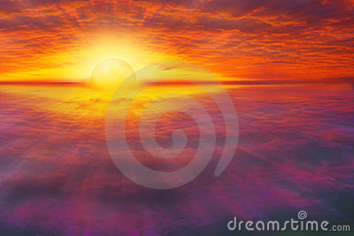 Spiritual, colorful sunset cloudscape
