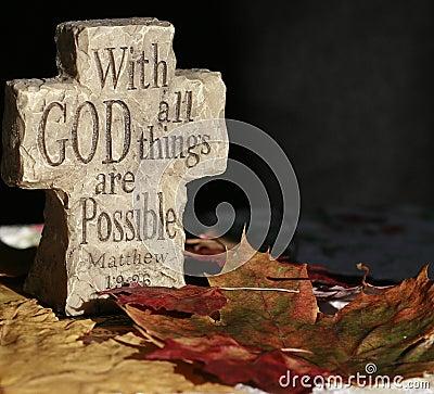 Spiritual cross with saying