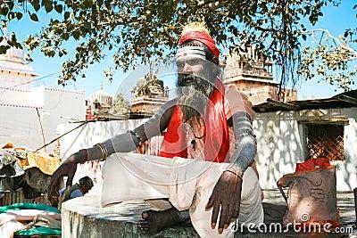 Spiritual Guru Shaiva sadhu, Orchha,  India Editorial Image