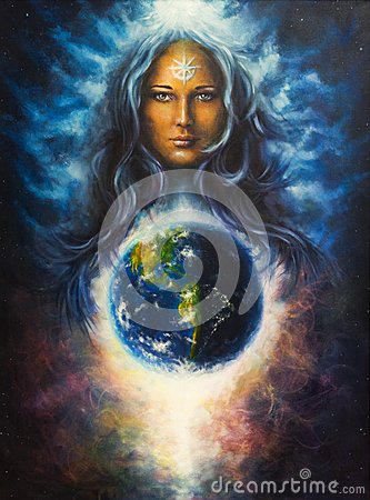 Free Spiritual Illustration,Beautiful Oil Painting On Canvas Of A Woman Goddess In Space, Eye Contact  Stock Images - 50220964