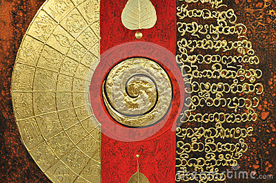 Spiritual painting with spiral symbol, gold and re