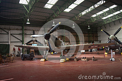 Spitfire in hanger - WWII Editorial Photo