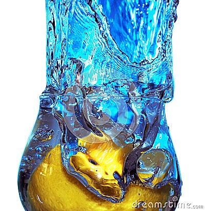 Splash of fluid in a glass