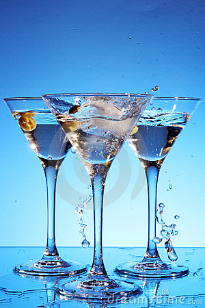 Splash martini on blue