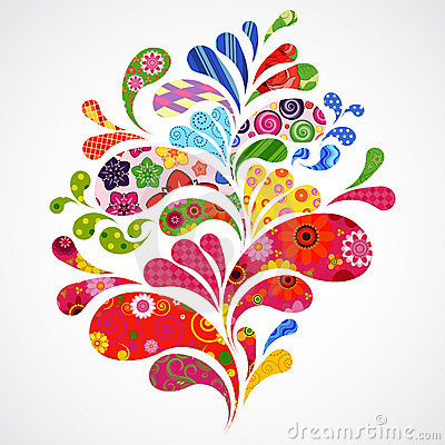 Free Splash Of Floral And Ornamental Drops Background. Stock Photo - 19718400