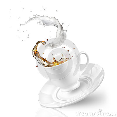 Free Splash Of Tea With Milk In The Falling Cup Isolated On White Royalty Free Stock Image - 38510246