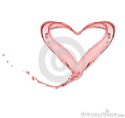 Splash of red water shape like a heart
