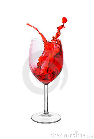 Splash in a red wine glass