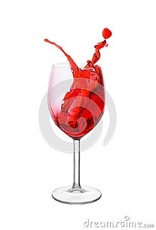 Splash in a red wine glass