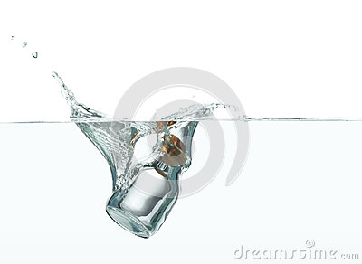 Bottle splashing in water