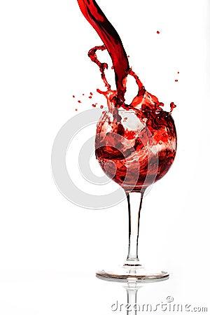A splash of wine in glass