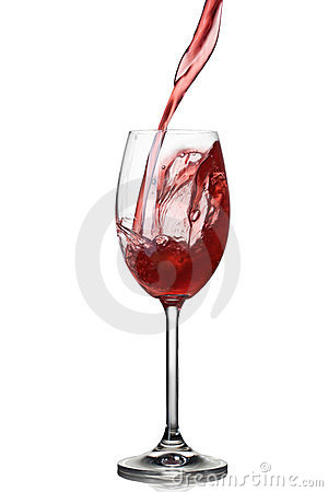 Splash of wine in glass isolated