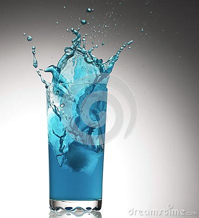 Splashes from a glass with water