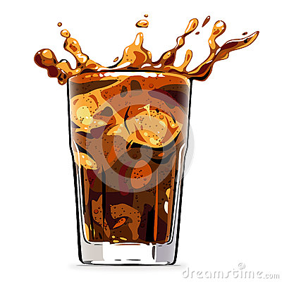 Splashing cola soft drink - vector illustration