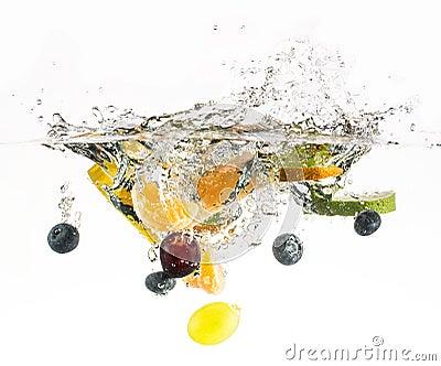 Splashing fruit on water.