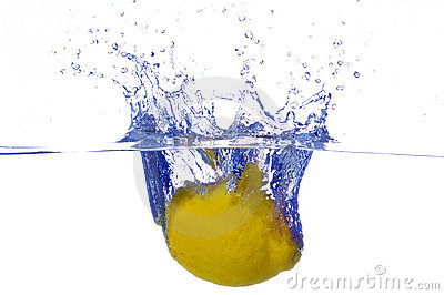 Splashing lemon into a water