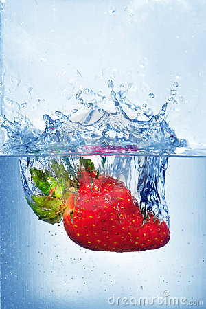Splashing strawberry