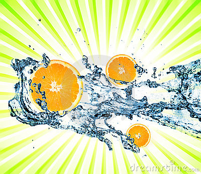 Splashing water with oranges