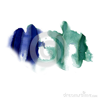 Free Splatter Ink Blue Green Watercolour Dye Liquid Watercolor Macro Spot Blotch Texture Isolated On White Background Stock Image - 79727871