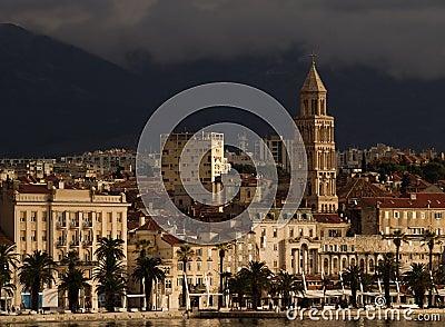 Split city skyline